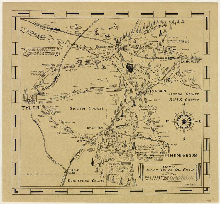 A 1933 map of the East Texas Oil Field, by E.D. Ray. Published online by the Texas General Land Office.