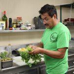 Gabriel Sanchez prepares salsa for Chamex fusion tacos.